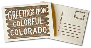 Greetings From Colorful Colorado Postcard (Gold)