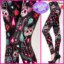 Load image into Gallery viewer, DÍA DE MUERTOS KITTY QUEEN SIZE LEGGINGS