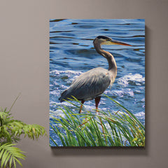 Grey Joy Blue Heron Art Print or Canvas - JWB Art Unlimited