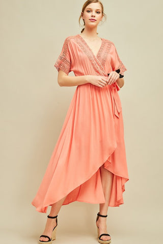 V-Neck Maxi Wrap Dress