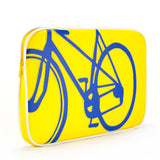 "3/4 yellow and blue Cykochik custom ""10-Speed"" bicycle applique 15"" vegan laptop sleeve by artist Michelle White"