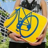 "Model  yellow and blue Cykochik custom ""10-Speed"" bicycle applique 15"" vegan laptop sleeve by artist Michelle White"