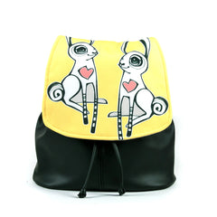 "Cykochik ""Love Bunnies"" black eco-friendly vegan drawstring backpack purse by Berkeley artist Michelle White"