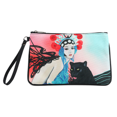"Front black Cykochik custom ""Kabuki Gravel"" eco-canvas vegan clutch wristlet bag by Dallas artist Patricia Rodriguez"