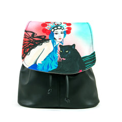 """Kabuki Gravel"" Vegan Drawstring Backpack Purse - Design by Dallas Artist Patricia Rodriguez (Multicolored )"