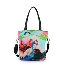 "Front Cykochik custom ""Kabuki Gravel"" eco-canvas vegan crossbody tote bag by Dallas artist Patricia Rodriguez"