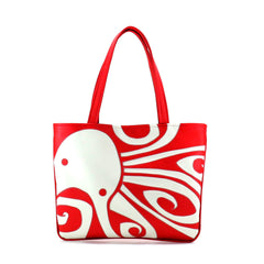 "Front red and cream Cykochik custom ""Ocho"" octopus applique eco-friendly vegan tote bag by Berkeley artist Michelle White"