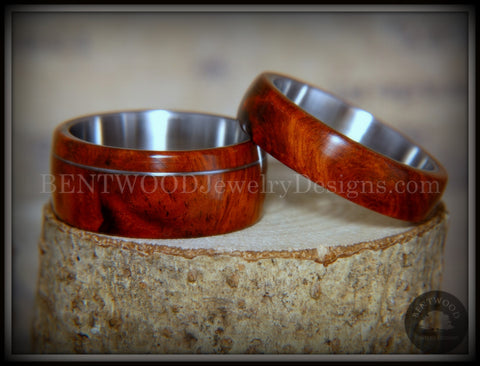 Bentwood Rings - Amboyna Burl Wooden Rings with Stainless Steel Inlay on Surgical Steel Cores