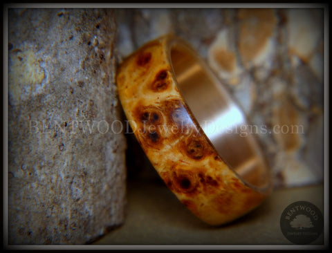 "Bentwood Ring - ""Rarity"" Afzelia Burl Wood Ring with Bronze Steel Comfort Fit Metal Core"