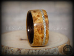 Bentwood Ring - Golden Amboyna Burl Ring on Ebony Wood Liner and Offset Silver Glass Inlay handcrafted bentwood wooden rings wood wedding ring engagement