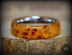 "Bentwood Ring - ""Rarity"" Golden Light Amboyna Burl Wood Ring with Titanium Steel Comfort Fit Metal Core handcrafted bentwood wooden rings wood wedding ring engagement"