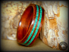 Bentwood Ring - Kingwood with Malachite Inlays handcrafted bentwood wooden rings wood wedding ring engagement