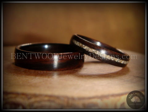 Bentwood Rings Set - Ebony Wood Ring Set with Silver German Glass Inlay