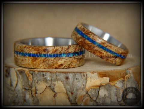 Bentwood Rings Set - Maple Burl on Surgical Steel Core with Azurite and blue Lapis Inlay