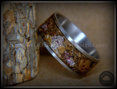 "Bentwood Ring - ""Figured Brown Amethyst"" Glass Rare Mediterranean Oak Burl Wood Ring on Stainless Steel Comfort Fit Core handcrafted bentwood wooden rings wood wedding ring engagement"