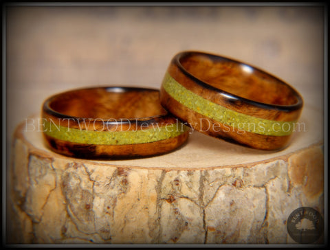 "Bentwood Rings Set - ""Smokies"" Bethlehem Olivewood Wood Ring Set with Green Turquoise Inlays"