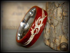 "Bentwood Ring - ""Tribal"" African Padauk on Titanium Core with Tribal Symbol Cape Town Beach Sand Inlay handcrafted bentwood wooden rings wood wedding ring engagement"