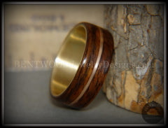 "Bentwood Ring - ""Golden Gate Acoustic"" Rosewood Wood Ring Bronze Acoustic Guitar String Inlay on 14k Solid Yellow Gold Core handcrafted bentwood wooden rings wood wedding ring engagement"