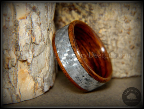 "Bentwood Ring - ""Silver Twill"" Centered Edge Carbon Fiber Rosewood Wood Ring"