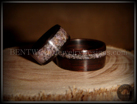 "Bentwood Rings Set - ""Grounded Pair"" Macassar Ebony Wood Rings with Charoite Inlay"