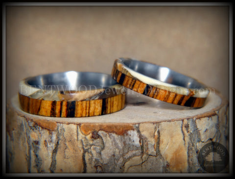 "Bentwood Rings Set - ""Mammoth"" Fossil and Goncalo Alves on Titanium Core"