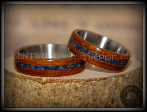Bentwood Rings Set - Rosewood on Titanium Core with Azurite and Malachite Inlay