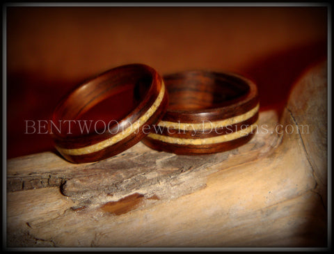 Bentwood Rings Set - Rosewood Wooden Ring Set with Fossil Inlays