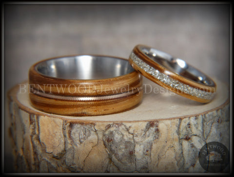 "Bentwood Rings Set - ""Striped Couple"" Zebrawood with Glass Inlay and Bronze Guitar String Inlay on Titanium Steel Core"