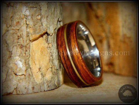 "Bentwood Ring - ""Acoustic"" Rosewood Wood Ring Bronze Acoustic Guitar String Inlay on Surgical Grade Stainless Steel Comfort Fit Metal Core"