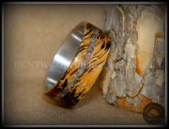 "Bentwood Ring - ""Spalted"" Live Oak Beach Sand Inlay Stainless Steel Core handcrafted bentwood wooden rings wood wedding ring engagement"
