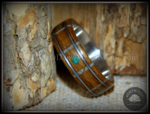 "Bentwood Ring - ""Nature Tracks"" Bog Oak on Titanium with Guitar String Inlays, Antler Frets and Malachite Dot Inlays"