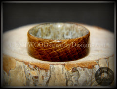 "Bentwood Ring - ""The Whiskey Hunter"" Jack Daniel's Whiskey Oak Barrel on Deer Antler handcrafted bentwood wooden rings wood wedding ring engagement"