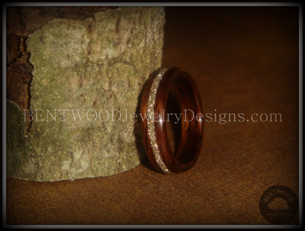 Bentwood Ring - Rosewood Wooden Ring with Silver Glass Inlay handcrafted bentwood wooden rings wood wedding ring engagement