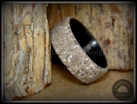 "Bentwood Ring - ""Remembrance"" Cremation Ash Inlay on Carbon Fiber Core Liner"