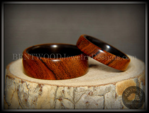 "Bentwood Rings Set - ""One True Pairing"" Desert Ironwood on Carbon Fiber Core Set"