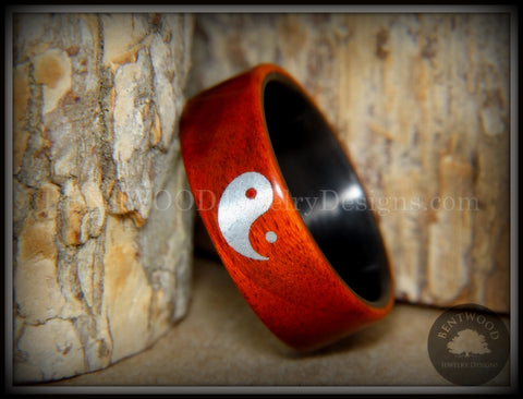 "Bentwood Ring - ""Yin Yang"" Padauk on Carbon Fiber Core Silver Engraved Yin Yang"