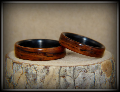 "Bentwood Rings Set - ""Composite"" Cocobolo on Carbon Fiber Cores"