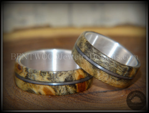 "Bentwood Rings Set - ""California"" Buckeye Burl Rings on Silver Core with Electric Guitar String Inlay"