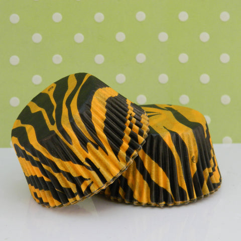 Black & Orange Zebra Print Cupcake Liners