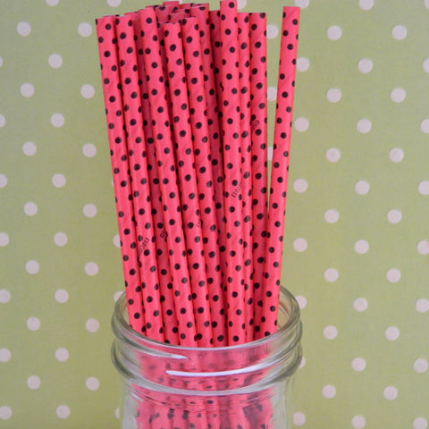 Red with Black Polka Dot Paper Straws