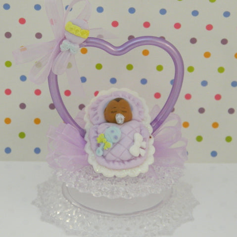 African American Baby Girl Shower Cake Topper