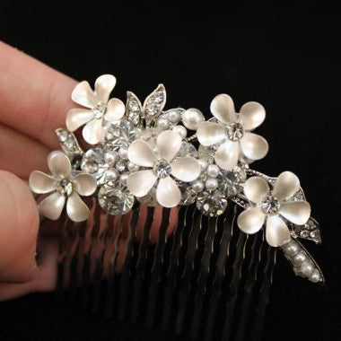 Flower with Rhinestone Hair Clip