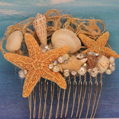 Starfish and Seashell with Pearls and Rhinestones Bridal Comb/ Beach Themed/ Destination Wedding/ Bride