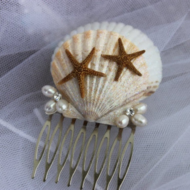 Iridescent Seashells with Starfish Comb/ Bridal Comb