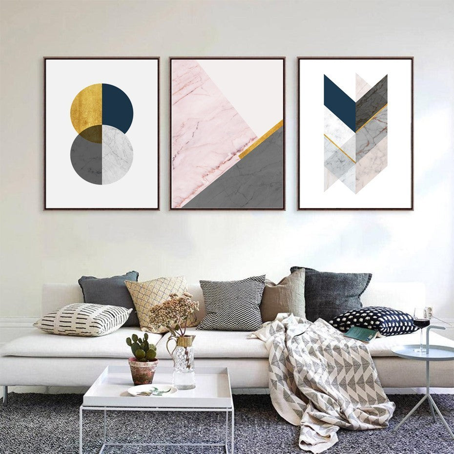 Modern Minimalist Abstract Living Room Wall Art Nordic Style Geometric  Marble Gold Fine Art Canvas Prints For Scandinavian Interior Home Decor