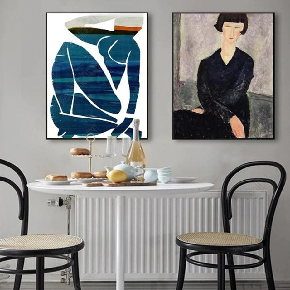 Vintage Vogue Amedeo Modigliani And Matisse Nordic Style Abstract Gallery Wall Art Fine Art Canvas Prints Modern  Scandinavian Home Decor