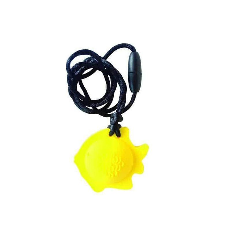 Fish Chew Pendant With Breakaway Clasp Necklace- Lemon Color