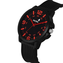 Sunday Sale Piaoma Black & Red Casual Analog Rubber Quartz Round Watch For Men