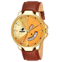 Sunday Sale Espoir Analogue Gold Dial Day and Date Men's Boy's Watch - GoldenRikon0507