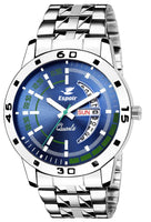 Sunday Sale Espoir Analog Stainless Steel Day and Date Blue Dial Men's Watch - SamBluish